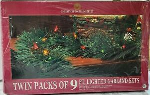 NOS 18ft total Evergreen Garland Pre-Lit Multicolor Lights Christmas Holiday