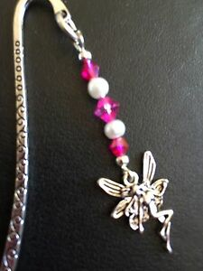 TIBETAN SILVER FAIRY BOOKMARK with pink glass beading. Xmas present in gift bag