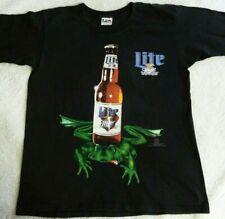 Miller Lite T-Shirt With Bottle And Frog Vintage Men's L Black