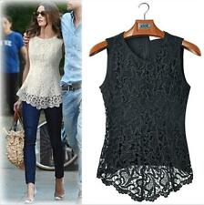 BLACK SLEEVELESS EMBROIDERY CROCHET LACE FLARED PEPLUM TOP VEST BLOUSE UK 14