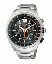 CITIZEN $340 MENS ECO-DRIVE SILVER CHRONO WATCH, TACHYMETER, 24 HOUR  AT0796-54F