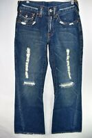 True Religion Womens 803 Jeans Wide Leg Twisted Flare Boot Size 30x32 Meas 29x31