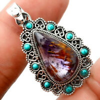 Cacoxenite Super 7 Mineral and Turquoise 925 Silver Pendant Jewelry AP64602