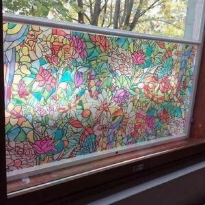 SELF ADHESIVE WINDOW VINYL STAINED GLASS STICKY BACK PLASTIC PRIVACY GLASS DCFIX