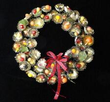 Vintage Fabulous Silver-Tone METAL & Faux Fruit CHRISTMAS Holiday Winter WREATH