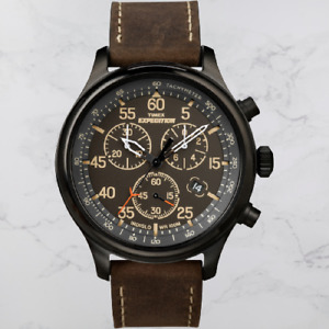 Timex Mens Expedition Field Chronograph Brown Dial Brown Strap Wrist Watch