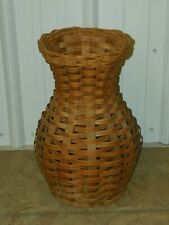 Vintage Arts & Crafts Wicker Woven Wood Umbrella Cane Stand Holder Basket 16.5