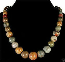 Natural 6-14mm Multicolor Picasso Jasper Round Beads Necklace