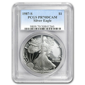 1987-S Proof American Silver Eagle One Dollar Coin PCGS PR70 DCAM
