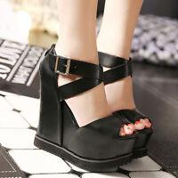 Women Wedge Platform High Heel Peep Toe Sandal Punk Ankle Strap Gothic Shoes uk7
