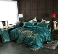 Chinoiserie Peacock Duvet Cover Set Vintage Embroidery Bedding Set Bed Sheet4Pcs