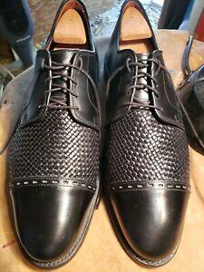 """NICE Allen Edmonds """"New Orleans"""" 11E Black CALFSKIN Woven Brogue Oxford Shoes"""