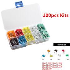 100pcs 5 7.5 10 15 20 25 30Amp Kit Car Mini Low Profile Fuses Box Mould Assorted