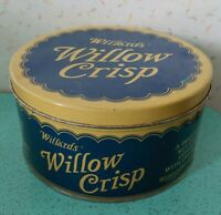 Willards Willow Crisp Tin Chocolate Candy 10 Lbs Vintage Metal Container 1930s