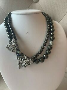 Authentic Alexis Bittar Faux Grey Pearl Necklace with BOW Swarovski, Pyrite