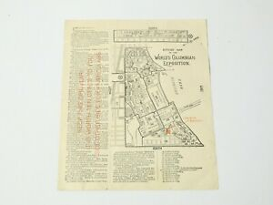 1883 World's Columbian Exposition Chicago Map & French Bakery Advertising #B1