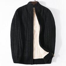 Winter Mens Fleece Lined Stand Collar Jacket Knitting Cardigan Sweater Outwear L