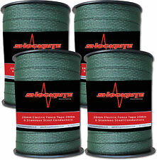 4 x 200m x 20mm Electric Fence Fencing ShockRite Green Tape
