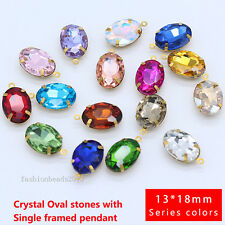 20p 13x18mm oval Faceted Framed Glass Pendant Earring findings Connector jewelry