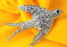 broche vintage hirondelle porte chance cristal diamant couleur argent /201