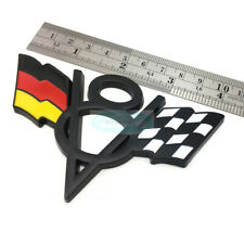 V8 Germany DE Flag Black Chrome Metal Front Grille Emblem Badge For Audi Porsche
