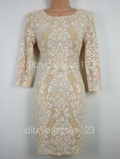 BNWT TFNC Calla Ivory Sequin Baroque Bodycon Dress Size 12 RRP £69