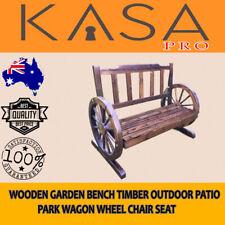 Wooden Garden Bench Wheel Chair Seat Timber Outdoor Patio Park Wagon Furniture