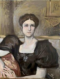 """Antique Vintage Style Female Portrait Oil Painting 18""""x24"""" Original Signed"""