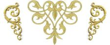 Fleur De Lis Abstract Design - Gold Metallic Applique Patch - Set Of 3