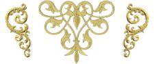 Fleur De Lis Abstract Design - Gold Metallic Applique Patch - Set Of 3