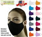 ADULT and KIDS Face Mask Triple Layers 100% Cotton Washable Reusable With Pocket