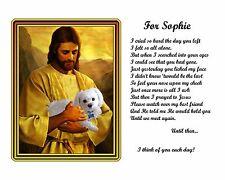 Maltese Dog Pet Memorial Picture w/Jesus Poem Personalized w/Dog's Name