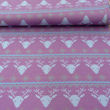 Knitted fabric Stenzo Hirsch Head pink light blue white 1.50m Width