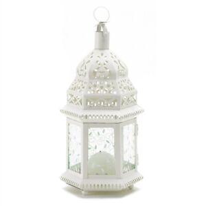 Medium White Metal Moroccan Candle Lantern