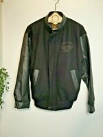 Vintage Letterman jacket black leather Wolff of Canada Chrysler Ontario workers