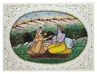 "Painting 4"" X 3"" Radha Krishna Handmade Fine India Miniature Artwork Resin tile"