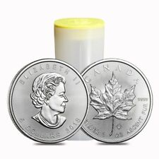 Roll of 25 - 2018 1 oz Silver Canadian Maple Leaf .9999 Fine $5 Coin BU