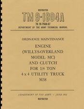 TM9 1804A ~ M38 ~ Jeep Engine Manual ~ 1951 Korean War Era ~ Reprnt