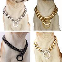 Strong 10/12/15/17/19mm Pet Dog Choker Collar Stainless Steel Curb Cuban Chain