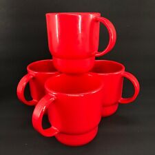 Tupperware Tabletop Coffee Mugs Set of 4 Chili Red Stackable 10 oz. New