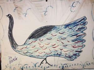 RA Miller  Outsider  FOLK ART   PEACOCK BIRD   Signed  painting  Cat #2389