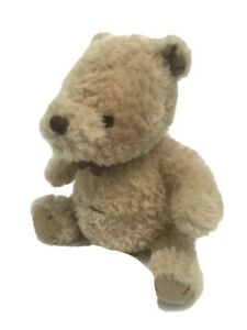 """Disney Classic Winnie The Pooh Plush Bear Stitched Features Beige 9"""" Sitting Bow"""