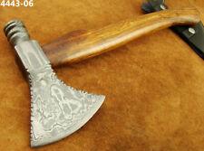 Damastmesser, 38CM Damast Axt Klinge mit Scheide,Jagd Camping Mittelalter 4443-6