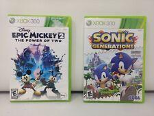 XBOX 360 Game Bundle - Sonic Generations + Epic Mickey 2 CIB Fast Free Ship