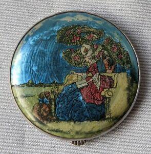 Vintage Gwenda Foil Crinoline Lady Compact Mirror c1930's