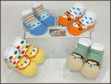 Baby Socks unisex 4pk Gift boxed Pitter Patter 0-6 months Animal Design (30072)
