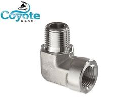 "High Pressure 1/8"" NPT Street 90 Elbow Pipe Fitting 3000 PSI Steel Coyote Gear"