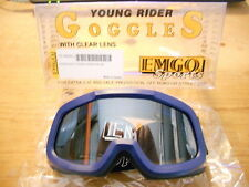NOS Emgo Blue Young Rider Goggles With Clear Lens 76-49583