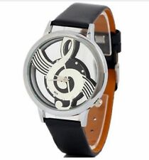 Leather strap Music Note Treble Clef Alalogue Wrist Watch Wrist Watch Black