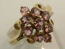 New 9ct Solid Yellow Gold & 9x Pink Tourmaline Cluster Dress Ring size P